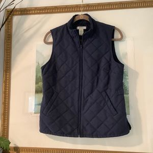 Orvis Quilted Puffer Vest Navy Defined Waist
